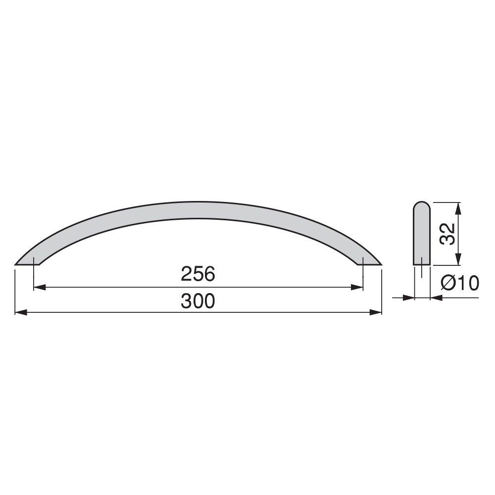 Emuca 9164851 Tirador para mueble /Ø10mm,224mm,Acero,Niquel satinado,Lote de 20