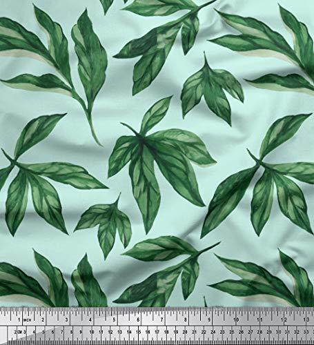 (Soimoi Green Silk Fabric Elm Leaves Print Sewing Fabric BTY 44 Inch Wide)