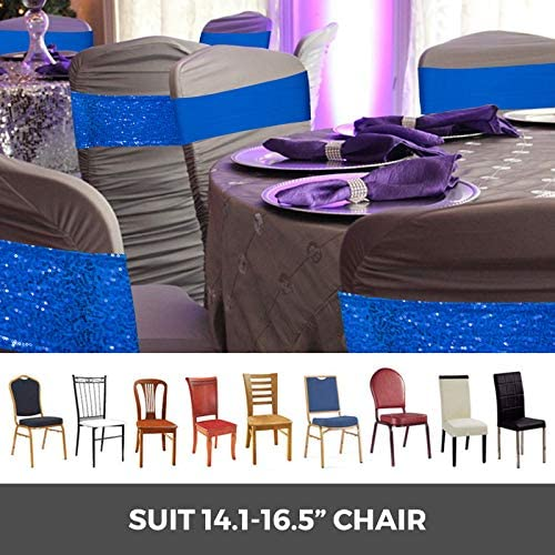 VEVOR 100PCS Chair Cover Bows Stretch Chair Bands Satin Chair Cover Sashes Decoration for Wedding Banquet Party Celebrations Events(Blue)