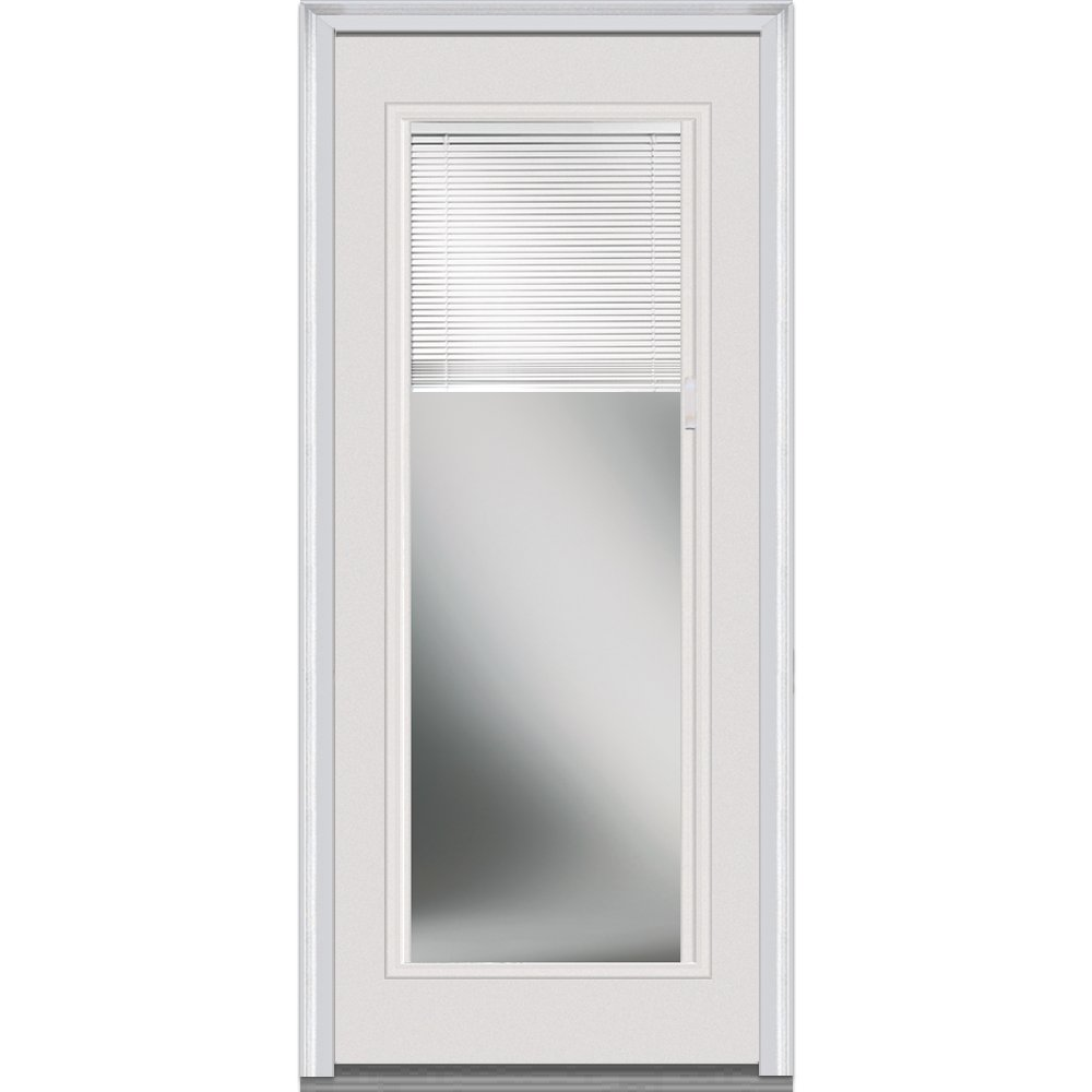 National Door Company EFS686BLLFS28L Fiberglass Smooth Primed, Left Hand In-Swing, Prehung Front Door, Full Lite, Clear Low-E Glass with RLB, 32'' x 80''