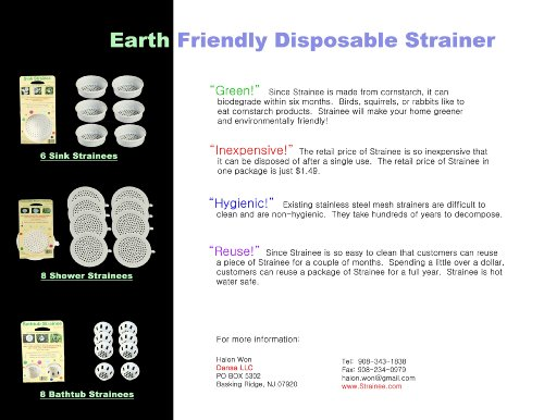 Bathtub Strainee 8 Pack Sink Strainer. 100% Corn Starch Means 100% Biodegradable, Non Toxic and Earth Friendly. by Bathtub Strainee (Image #2)