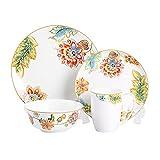 MoseChina,4 - Piece Premium Bone China Dinnerware Set Service For 1 - Glazed Garden Flower with Golden Trim