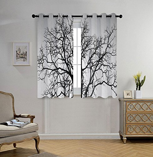 Tree Dead Photo (iPrint Stylish Window Curtains,Forest Home Decor,Dead Old Branches Arms Limbs Sadness Symbol Tree of Life Offshoot Picture,Grey Black,2 Panel Set Window Drapes,for Living Room Bedroom Kitchen Cafe)