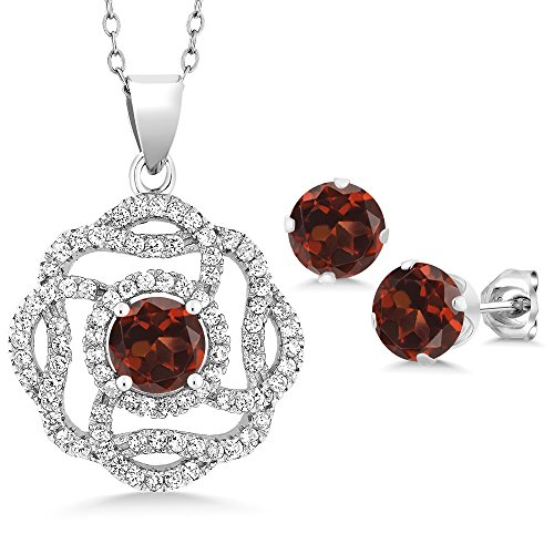 Garnet Rose Jewelry Set (5.06 Ct Round Red Garnet 925 Sterling Silver Pendant Earrings Set)