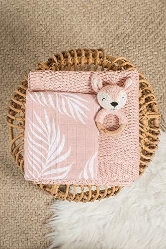 Jollein 536-848-65314 Waschlappen Nature Leaves rosa 3er Set