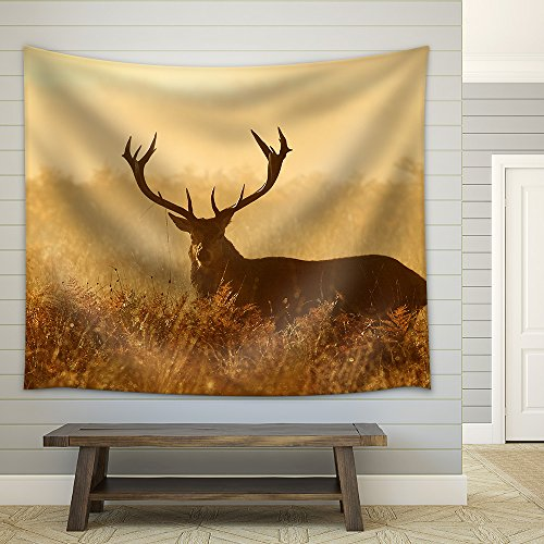 Red Deer Stag Silhouette Fabric Wall