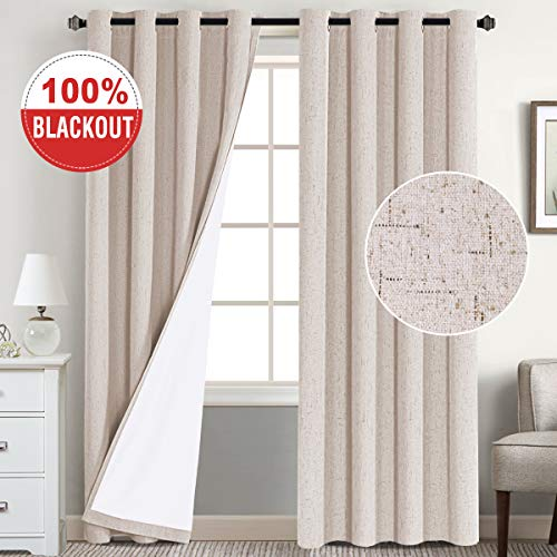 Full Light Blocking Window Treatment Curtains Grommet Top Linen Textured Primitive Blackout Panels Pair Thermal Insulated Curtains with White Backing, Each 52 by 84 Inch, Natural (Lined Burlap Curtains)