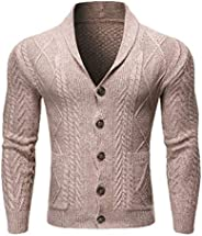 Kekebest Jacket Casual Solid Knit Trench Coat Cardigan Long Sleeve Outwear Blouse Mens Autumn Winter Newest