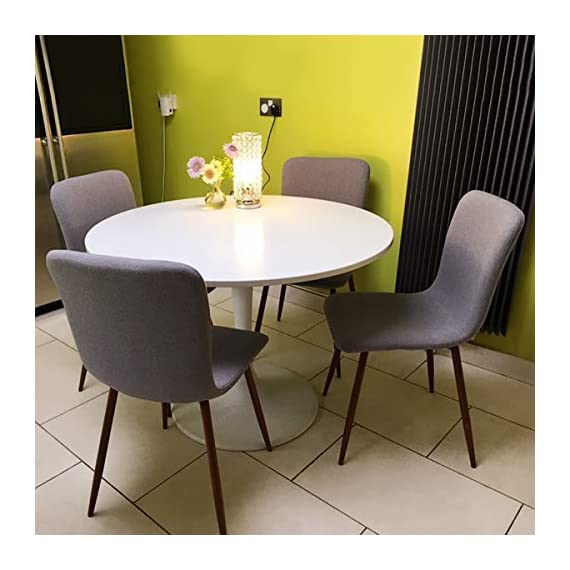 Set Of 4 Kitchen Dining Chairs Fabric Cushion Side Chairs With Sturdy Metal Legs For Home Kitchen Living Room Update Grey