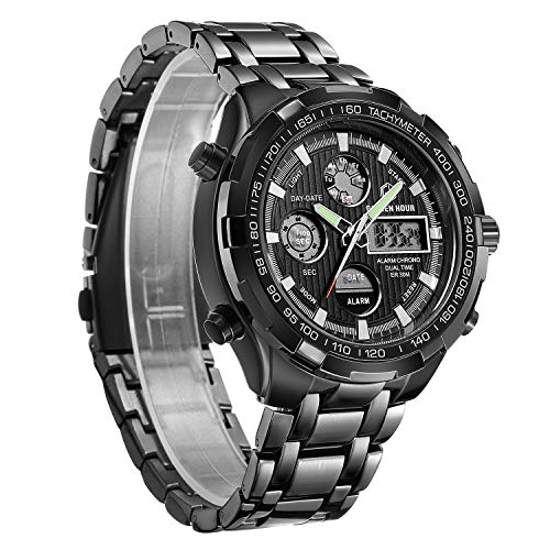 Men Digital Analog LED Sport Watch Chronograph Black Stainless Steel Waterproof Casual Wristwatch Dual Display ... ()