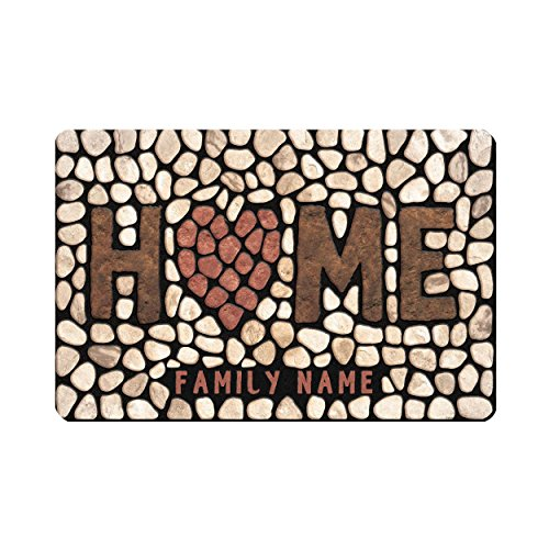 Name Door Mat - Custom Name Door Mat Entrance Rug – Personalized Your Own Doormat Outdoor Indoor Non Slip - Rectangular Shoe Scraper Dirt Trapper Mats 23.6