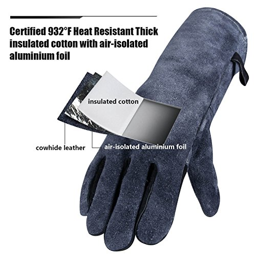Chengyi Leather Welding BBQ 932°F Heat Resistant Gloves Lab, Safety and Work Gloves for Tig Welder/Grilling/Barbecue/Gardening by ChengYi (Image #1)