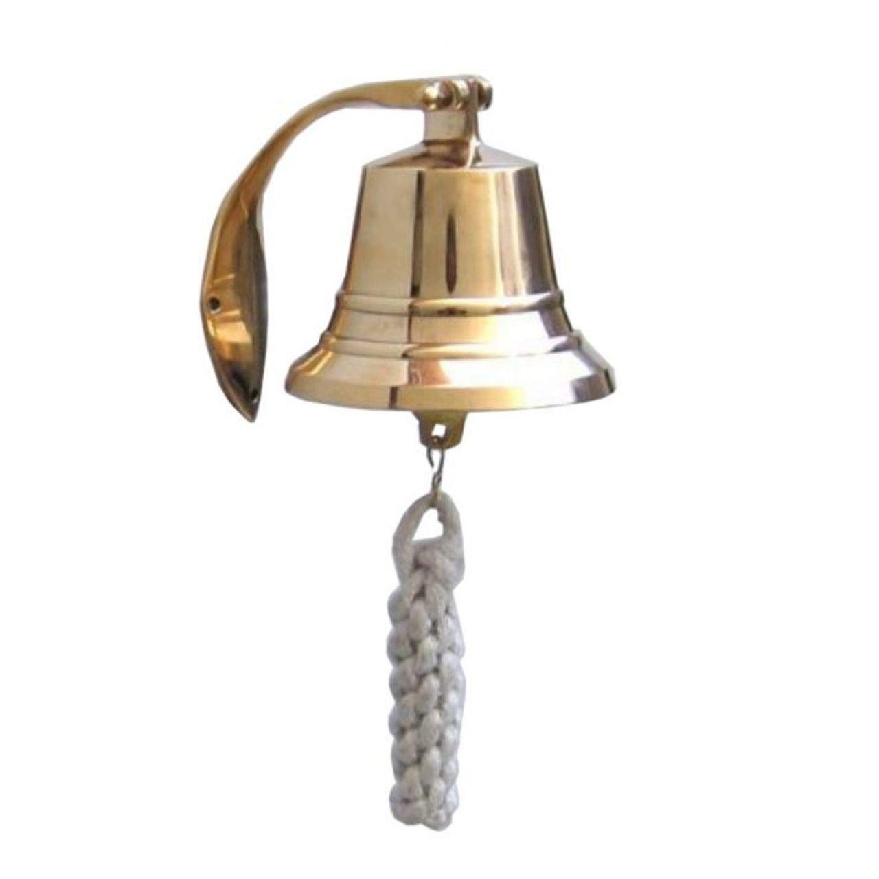 Hampton Nautical 3xglass-101 Brass Plated Hanging Harbor Bell 4'' Nautical Home Decoration, 4 inch,