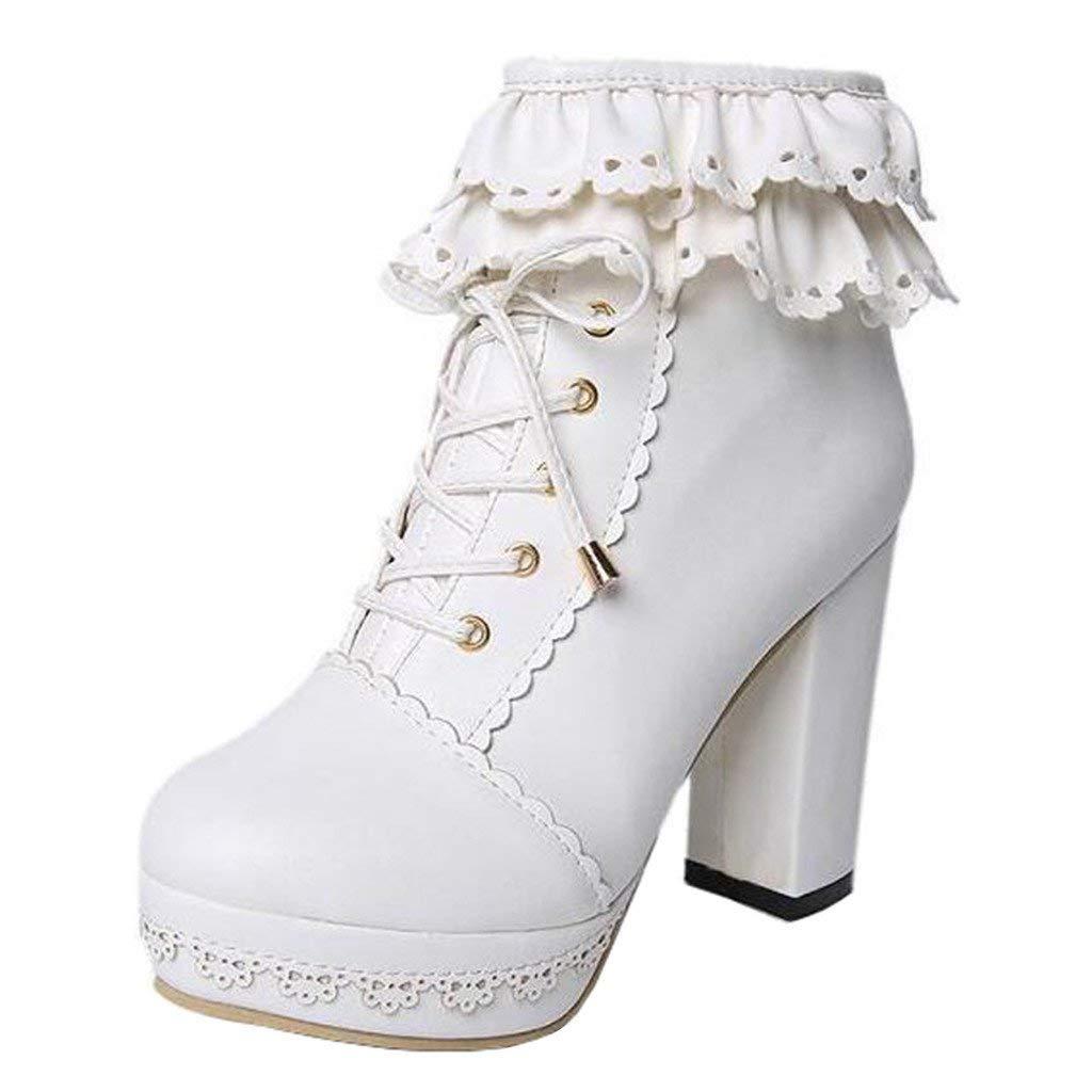 ZHRUI Frauen Frauen Frauen Plattform Hohlblockabsatz Schnürstiefeletten (Farbe   Weiß, Größe   4 UK) 7e6c8c