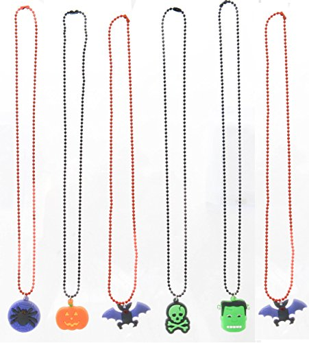 Frogsac Halloween Pendants Ball Chain Necklaces 18'' 6 Pcs Great Party Favors]()