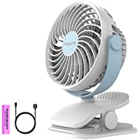 Battery Operated Clip on Fan Mini Desk Fan with 4 Speeds, 360 Degree Rotation for Baby Stroller, Table, Office, Camping, Dorm