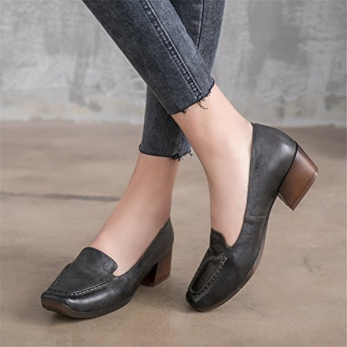 Size Leather Career Dress Shoes amp; Color Ladies Office New Square Shoes Heel Block Head B Women's for 2018 37 Td4qwATO