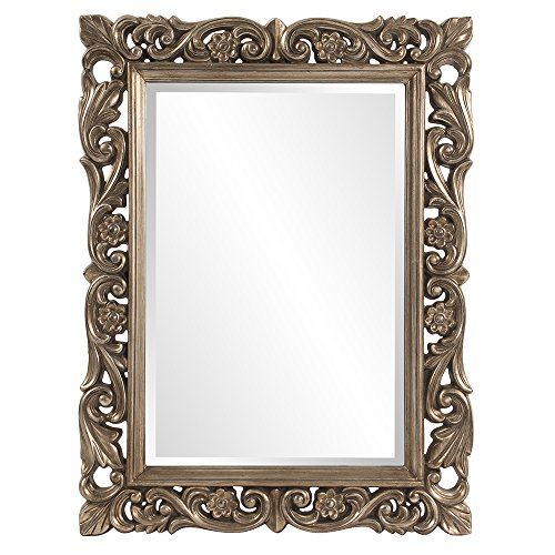 au Mirror, Glossy French Pewter Resin Frame, Hanging Wall Accent Piece ()
