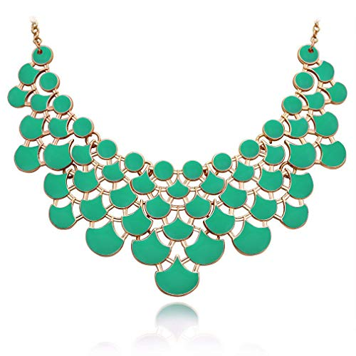 (JANE STONE Necklace Magnetic Scaly Mint Jewelery Vintage Openwork Bib Statement Fall Wedding Necklace(Fn0968-Mint))