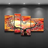 "Modern Abstract Oil Painting Contemporary Canvas Wall Art Large Framed Canvas Tree Impressionism Signed Original By Bo Yi Art Studio 52"" x 30"""