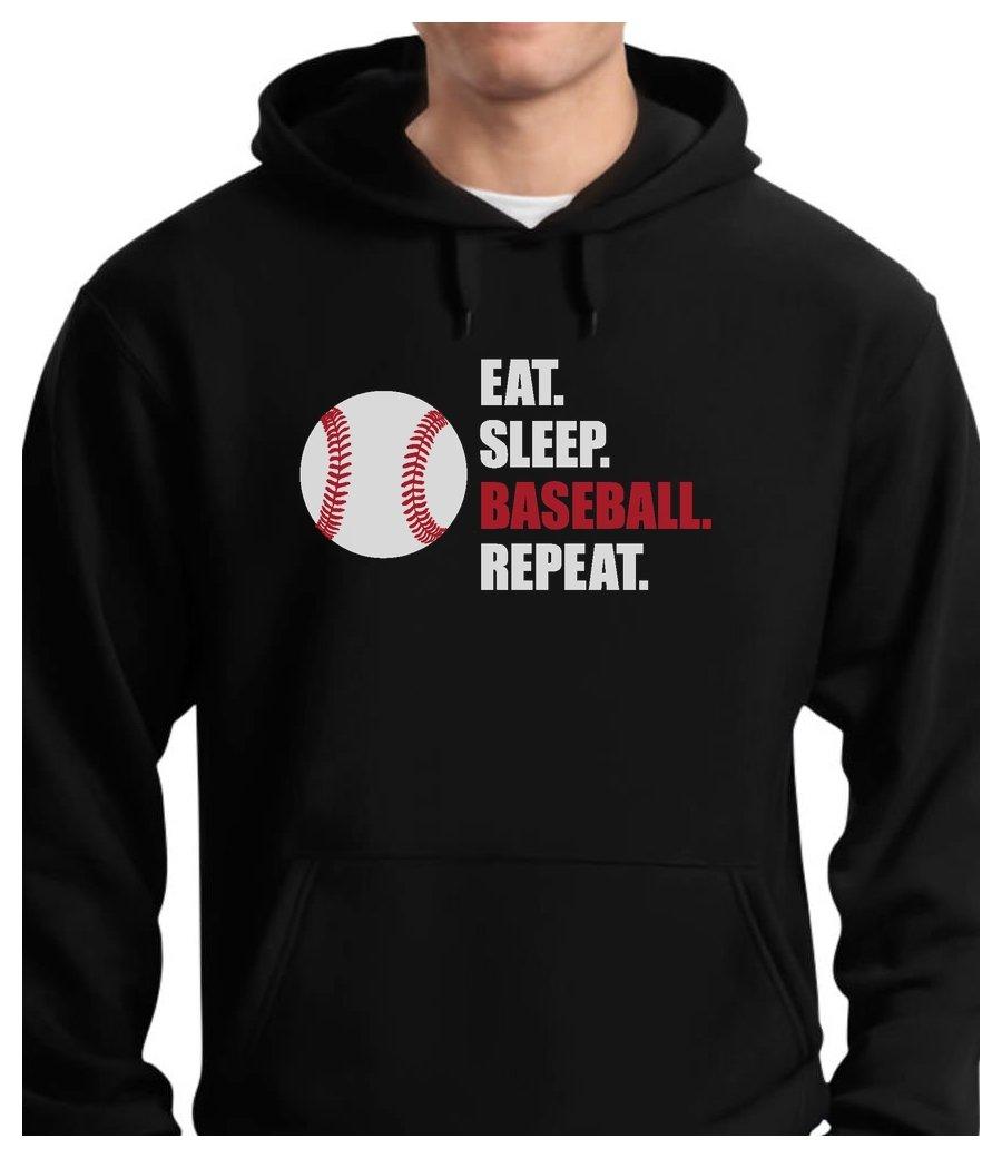 Tstars TeeStars - Eat Sleep Baseball repeat Best Gift For Baseball Fans Hoodie Large Black
