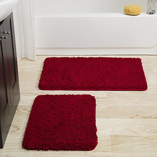 - Bedford Home 2 Piece Memory Foam Shag Bath Mat Set - Burgundy