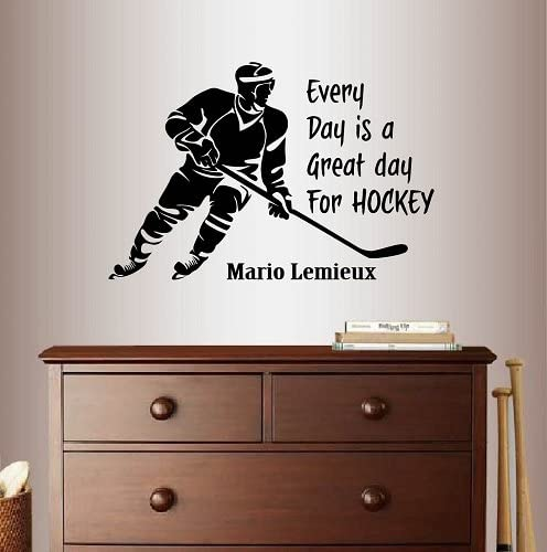Mario Lemieux quote Sticker Every day is a Great day for Hockey Vinyl Decal