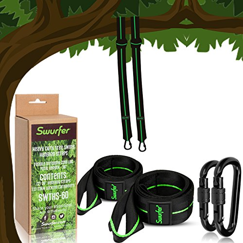 Swurfer 5ft Tree Swing Straps Hanging Kit (Set of 2) Durable Weatherproof Tree Attachment Straps - Includes 2 Industrial Strength Safe Locking Carabiners, Holds 2000 Lbs - Hang Any Swing or Hammock