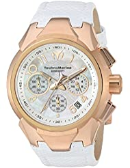 Technomarine Womens Sea Quartz Gold and Leather Casual Watch, Color:White (Model: TM-715035)