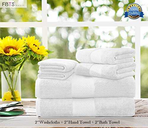 Luxury Bath Towels Sets large 6 Pack Hotel Cotton Towel Set Soft Thick for Bath and Spa White by FBTS Prime