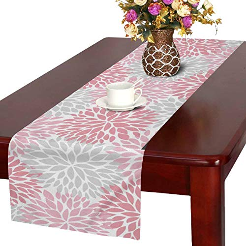 InterestPrint Dahlia Pinnata Flower Gray and Gradient Pink Table Runner Cotton Linen Cloth Placemat Home Decor for Home Kitchen Dining Wedding Party 16 x 72 Inches