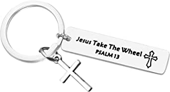 Religious keychain Faith Keychain for Men Christian Jewelry Gift Jesus Take The Wheel Key Chain Psalm 13 Birthday Thanksgiving Christmas Keyring Pastor Gift Sunday School Teacher Gift