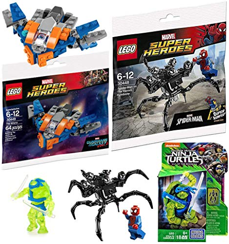 Mini Blast Buildable Heroes Mega Teenage Mutant Ninja Turtles Stealth Leo Micro Figure Out of The Shadows Comic + Spider-Man VS Venom Symbiote Alien / Guardians Starship Milano Galaxy Space Explorer (Halo Lego Vs Set Blue Red)