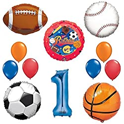 The Ultimate Sports Theme 1st Birthday Party Supplies and Balloon Decorating Kit