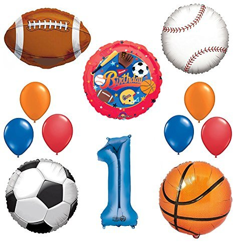 The Ultimate Sports Theme 1st Birthday Party Supplies and Balloon Decorating Kit ()