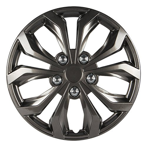 Gunmetal Accents Finish - Pilot Automotive WH555-16GM-B Universal Fit Spyder Wheel Cover [Set of 4] - 16 in. ABS Hub Cap with 10 Spokes, Gunmetal Grey Finish. Car Accessories
