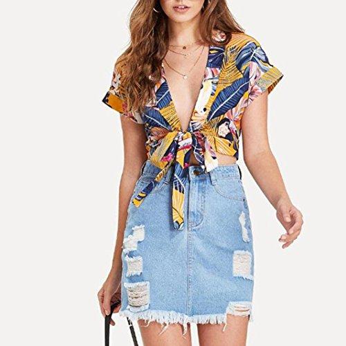 Clearance! Fashion T Shirt, vermers Women Summer Print Deep V-Neck Bandage Short Sleeve Shirt Blouse(Yellow, S)