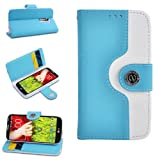 Magic Global Gadgets - Turquoise / Light Blue Retro Leather Flip Book Wallet Case Cover Pouch With Media Stand For LG G2 D801 / D802 With Screen Guard / Cleaning Cloth / Mini Stylus