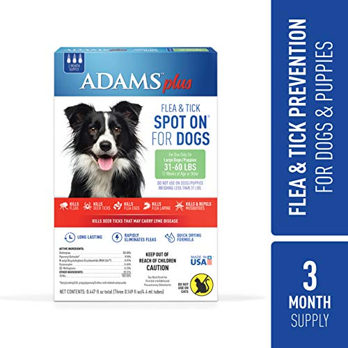 (Adams Plus Flea and Tick Spot On for Dogs, Large Dog Flea Treatment, 31-60 Pounds, 3 Month Supply)