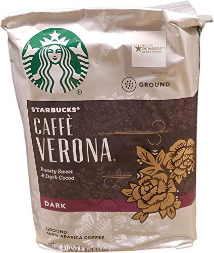 Starbucks Caffe Verona Dark Roast Ground Coffee, Roasty Sweet & Dark Cocoa, 40 Ounce