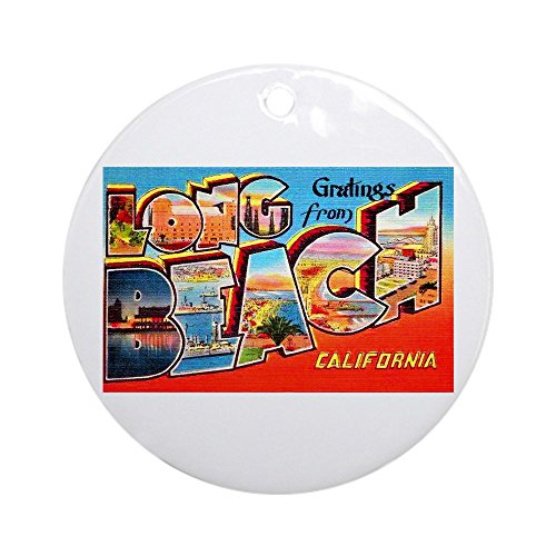 CafePress Long Beach California Greetings Ornament (Round) Round Holiday Christmas Ornament