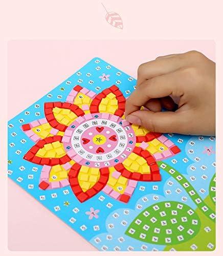 Mosaicos Adhesivos de Arte Hecho a Mano DIY Kits de Artesan/ía de Manualidades para Ni/ños Juguetes Educativos Queta Pegatinas de Mosaico para Ni/ños Conjunto de 12 Dibujos Animados de Mosaico