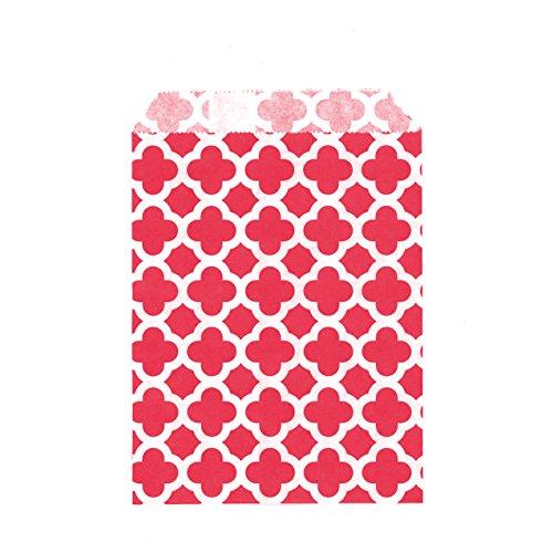 100CT Medium Quatrefoil Red Biodegradable, Food Safe Ink & Paper Cookie Bag, Eco-friendly Favor Bag, Treat Bag (Quatrefoil Medium, (Kraft Food Halloween Treats)