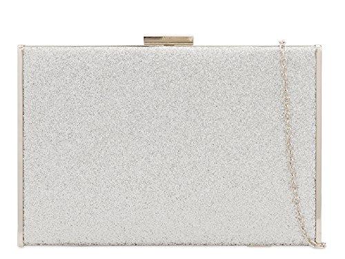 Women's Cocktail Metallic Summer Glitter Ladies Clutch Box Bag Bag Silver Handbag Party Bag KH2222 0T41qw4
