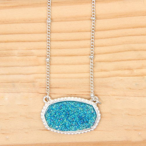 YUJIAXU Framed Etched Oval Faux Druzy Glitter Statement Short Necklace for Womens Gift Outfit Jewelry