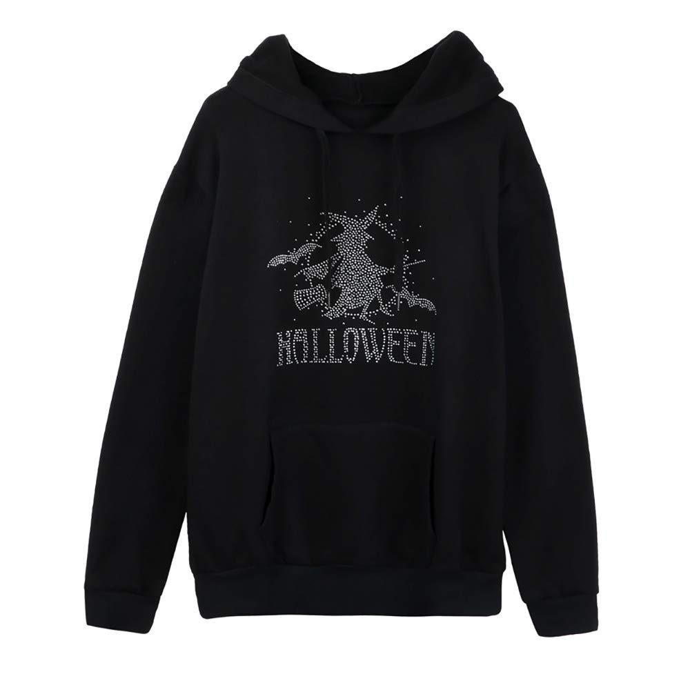 Opeer Hooded Women Halloween Plus Size Long Sleeve Pocket Neck Blouse Tops (XL(US:14), Black)