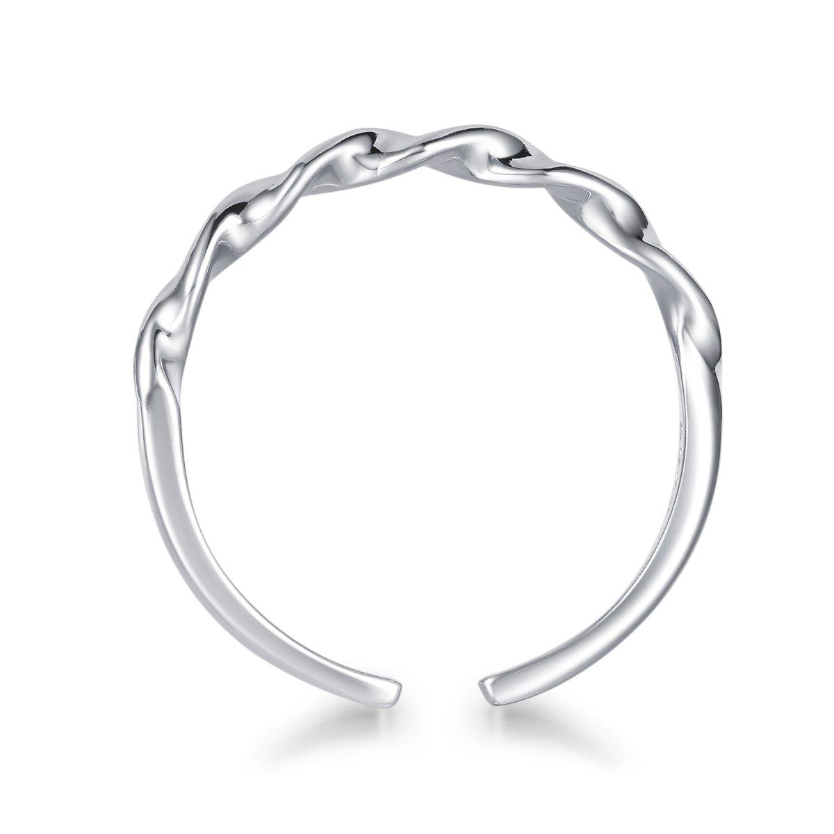 LYTOPTOP Women Waves Ring Fashion Sterling Sliver Jewellery Thumb Rings Adjustable Open Finger Ring Gift Box VXfbMbm