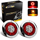 """Partsam 4"""" Inch Round Truck Trailer Led Tail Stop Brake Lights Taillights Running Red and Amber Parking Turn Signal Lights, Sealed Dual Color Round Led Lights w/Miro-reflectors Flange Mount (2Pack)"""