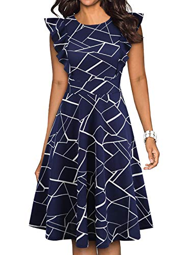YATHON Women's Vintage Swing Casual Party Work Dresses Chic Navy Blue White Stripe O-Neck Ruffles Summer Beach Cocktail Holiday Wedding Evening Dress (S, YT001-Blue w Stripe)