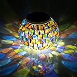 Solar Glass Ball Table Light - Aukora Color Changing Solar Powered Mosaic Glass Table Lamps, Waterproof Decorative Led Night Light for Xmas Home Bedroom Yard Patio, Ideal Gifts